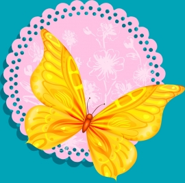 insect background yellow butterfly icon decor