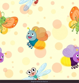 insects animals background cute stylized cartoon sketch