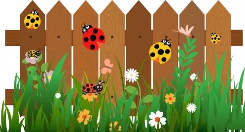 insects background ladybugs on garden fence decor