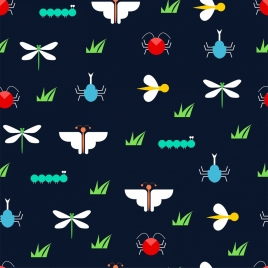 insects background multicolored repeating flat decoration