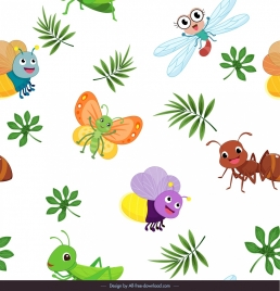 insects background stylized butterflies fly bee ant grasshoppers