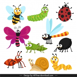 insects icons cute cartoon sketch modern colorful