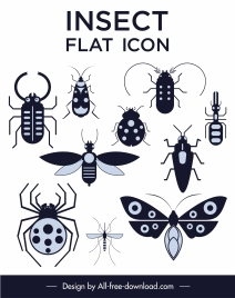 insects species icons black white flat sketch