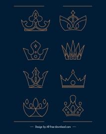 insignia crown icons flat symmetric handdrawn sketch