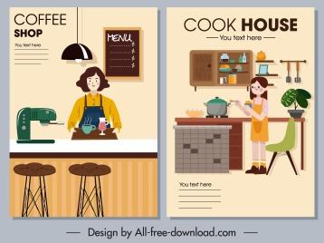 interior decor posters coffee shop kitchen themes
