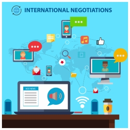 international negotiations concept with computing interfaces illustration