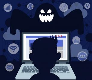 internet hazard background laptop ghost user interface decor