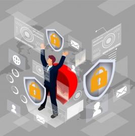 internet security background businessman computer icons 3d design