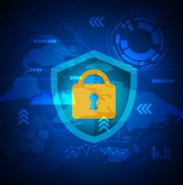internet security background lock shield blue vignette design