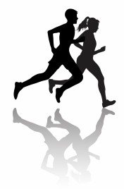 Interracial Couple Jogging or Exercising