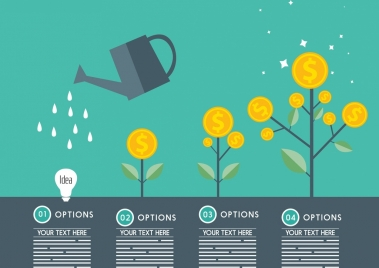 investment infographic coins trees watering pot icons