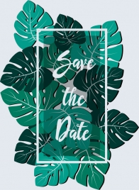 invitation card backdrop green leaves icons ornament
