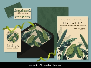invitation card template classic green leaves decor