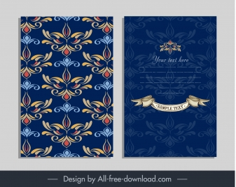 invitation card template classical floral sketch blurred decor