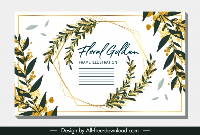 invitation card template classical leaves decor