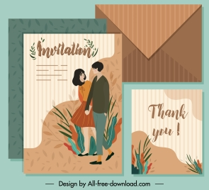 invitation card template couple sketch colored classic design