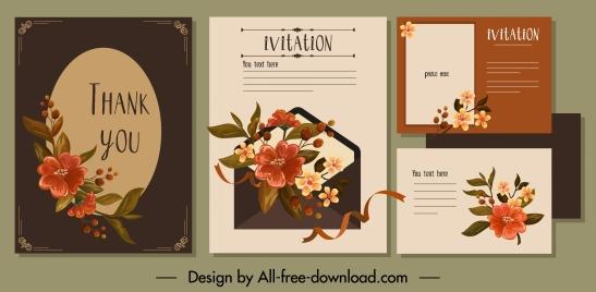 invitation card template dark elegant classical petals decor