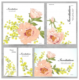 invitation card vector illustration with drawn flowers