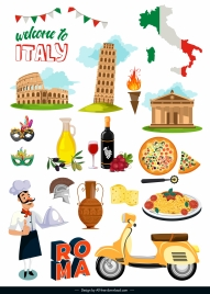 italy design elements colorful flat symbols sketch