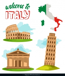 italy tourism banner retro architectures flag map sketch