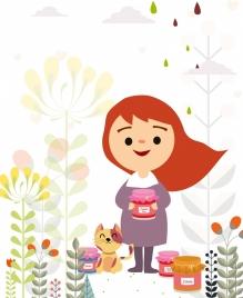 jam advertising cute girl cat icons colored cartoon