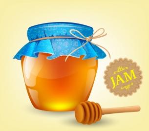 jam advertising honey jar stick icons shiny multicolor