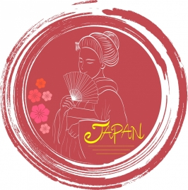 japan advertising traditional woman sketch red grunge decor