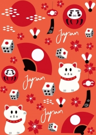 japan background repeating traditional symbols decor