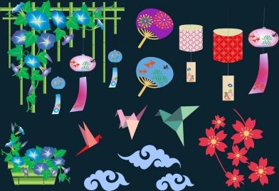 japan culture design elements multicolored symbols