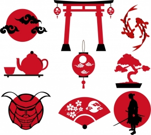 japan culture design elements various red icons