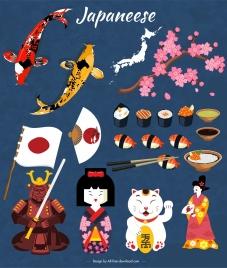 japan design elements classical symbols icons