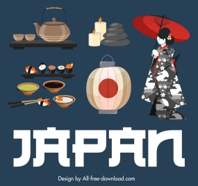 japan design elements kimono lantern food drink sketch