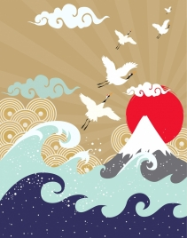 japan style drawing mountain waves sun birds icons