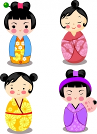 japanese icons various traditional kimono costumes decor