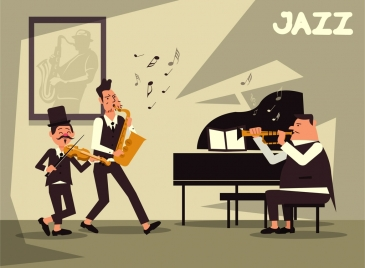 jazz background music band icon cartoon characters