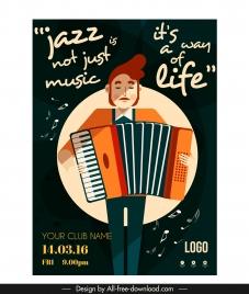 jazz banner accordion performer sketch texts decor