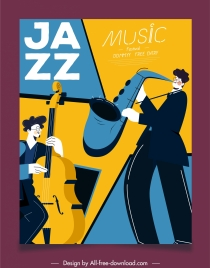 jazz concert banner instruments player sketch classic design
