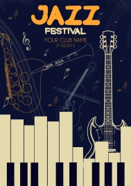 jazz festival banner musical instruments icons decor