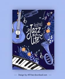 jazz festive banner classic dark instruments flora decor