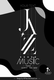 jazz festive poster modern black white texts decor