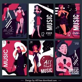 jazz festive posters singer sketch classical dark design