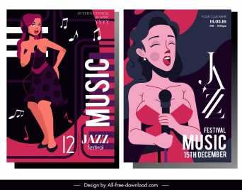 jazz music banners female singer sketch classic design