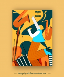jazz music poster colorful flat instruments singer sketch