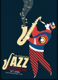 jazz poster colorful flat design human trumpet icons