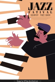 jazz poster piano man sketch classical design