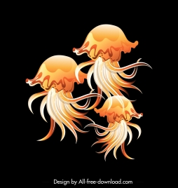 jellyfish painting colored shiny contrast decor