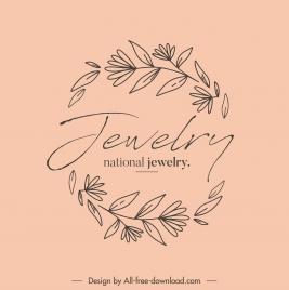 jewelry logo botanical sketch retro handdrawn design