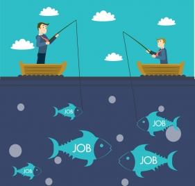 job hunting concept men fishing on ship decoration