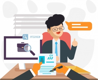 job interview background candidate icon cartoon character
