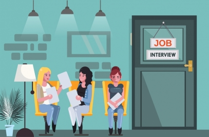 job interview background waiting candidates icons cartoon design